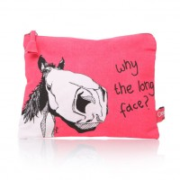Why the Long Face - horse cosmetic bag- Pink