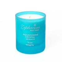 Affirmation Candle - Throat Chakra - Neroli Oil - Aquamarine Crystal