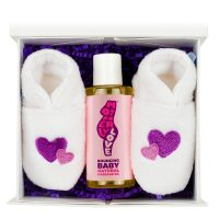 For baby gift box with purple slippers